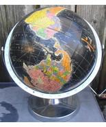 Vintage Replogle 12 inch Starlight Globe Black Oceans Globe Chrome Base ... - $36.00