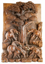 3D Wood Carvings Sculpture Wall Decoration Art ELEPHANTS BY OAK - $499.00