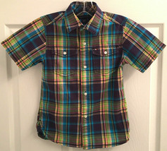 Tommy Hilfiger Boys XS 4-5 Multi-Color Plaid Short Sleeve Button Shirt T... - $5.93