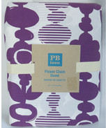 Pottery Barn Teen Flower Chain Twin Duvet Cover Purple Plum White Cotton... - $24.25