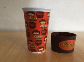 Reese's Travel Mug Cup with Silicone Band Ceramic Glass **No Lid** Multi... - $4.94