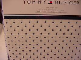 Tommy Hilfiger Navy Polka Dots on White Sheet Set Twin - $43.00