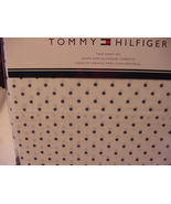 Tommy Hilfiger Navy Polka Dots on White Sheet Set Twin - $47.00
