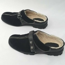 Cole Haan Black Suede Leather Womens 6B Mules Fur Buckle Straps Waterproof - $27.66