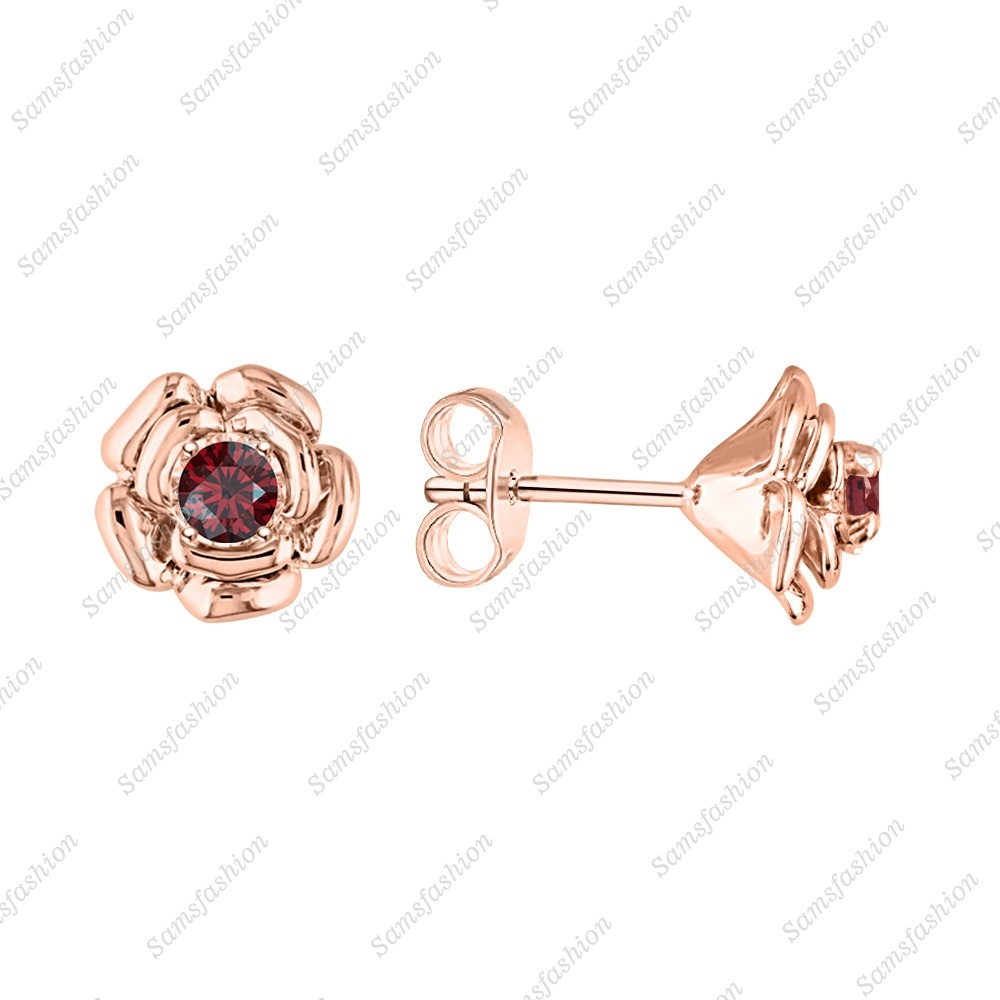 Rose Flower  Earring Red garnet 14k Rose God over . 925 Sterling Silver Womens