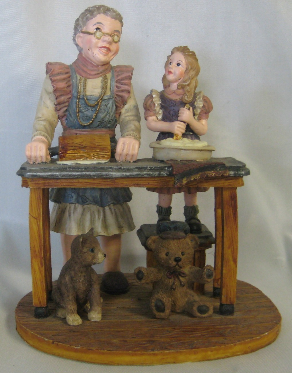 Grandmother and Child Baking by Youngs Detailed Figurine Made Of Resin