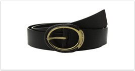 Michael Kors Leather Eclipse Belt Antique Gold Buckle, Small 38, Black - $30.00