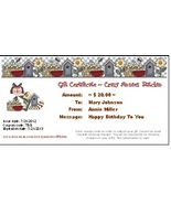 $20 Gift Certificate gift card Crazy Annie's Stitchin - $20.00