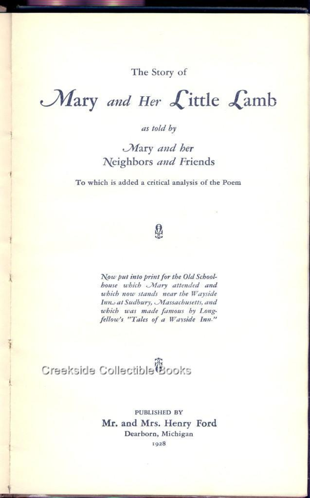 """1928 """"The Story of Mary's Little Lamb"""" HC Book"""