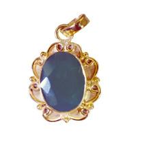 bonnie Green Onyx Gold Plated Green Pendant Glass gemstones US - $5.63