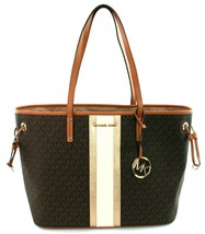 Michael Kors Monogrammed Shopper Tote Bag PVC Large Handbag Brown Gold R... - $322.41