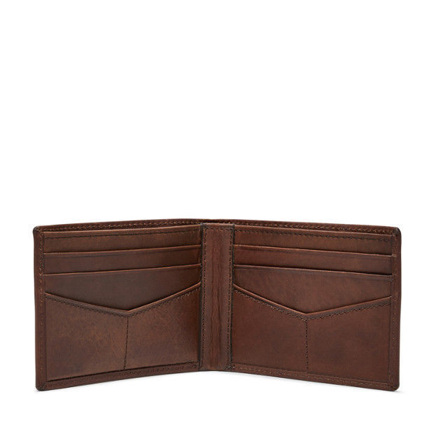 new nwt wallet Fossil ADAM BIFOLD black or brown mens