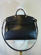 NWT FURLA Onyx Black/Gold Saffiano Leather Piper Messenger/Cross Body Bag - $413.80