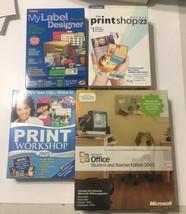 Ms Office 2003 Student And Teacher, Printshop Deluxe 24, My Label Designer - $29.69