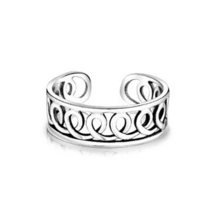 Women's Adjustable Infinity Swirl Toe Ring White Gold Finish 925 Sterling Silver - $9.99