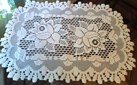 """Vintage Doily White  with Rose Pattern - Machine lace - 19"""" x 12 1/2""""  #22029 - $8.99"""