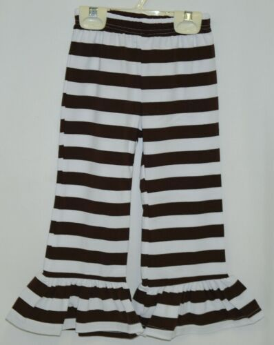 Blanks Boutique Brown White Ruffled Pants Cotton Spandex Size 3T