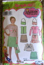 Pattern For Girls Skirts Tops And Purse Size 8 10 12 14 16 S 4565 Lizzie McGuire - $7.00