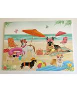 Dogs On The Beach Umbrella Placemats Set of 4 Coastal Summer Beach Summe... - £24.74 GBP