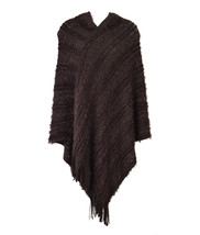 Striped & Oval Chain Knitted Fringe Hooded Poncho - $21.99