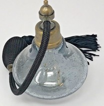"""Bubble Glass Perfume Atomizer Gray Black with Rubbed Brass Hardware 5"""" Tall - $14.85"""