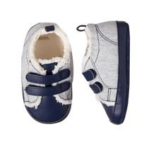 NWT Gymboree Forest Fox Baby Boys Blue Gray Sherpa Crib Shoes 2 3 4 - $10.99