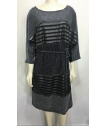 Roz & Ali Womens XL Silver & Black Striped Dress Knee-Length 3/4 Sleeves - $37.24