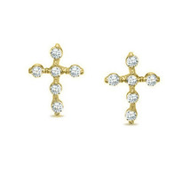 14K Yellow Gold Child's Cubic Zirconia Cross Screw Back Stud Earrings  - $59.38