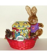 Christmas Basket M&Ms Plush Bunny Rabbit Candle Candy Filled Tin 104 - $13.00