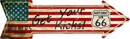 "American Flag Get Your Kicks Rte 66 Novelty Metal Arrow Sign 17"" x 5"" Wall Decor - $15.95"