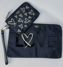 Victoria's Secret Gold Heart Love Sequin Black Makeup Bag Clutch Dual Set NWT - $18.80