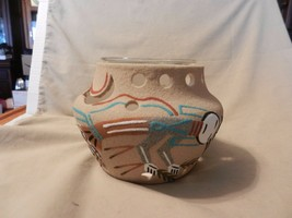 Navajo Sand Art Bowl With Candle Holder Bear and Navajo with Crops (M) - $55.68