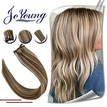 JoYoung Blonde Sew in Human Hair Weave Bundles Color #8 Light Brown Highlight wi image 1