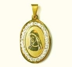 QR4 Blessed Virgin Mary Oval Energy Pendant with Crystals - Plain - $19.95