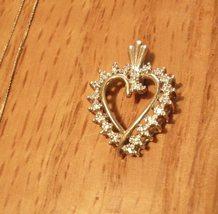 14k Gold Heart Pendant Diamond Chip Accents - $52.00