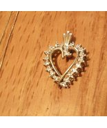 14k Gold Heart Pendant Diamond Chip Accents - $52.00