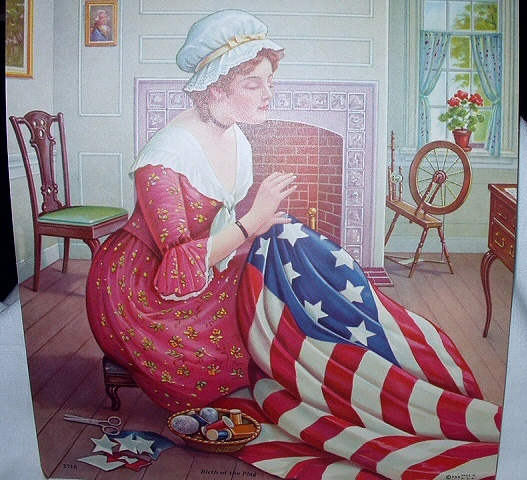 Birth Of The Flag-Betsy Ross Creating American Flag Lithogra