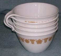 Vintage PYREX CORELLE BUTTERFLY GOLD CUP/ Mug-Open Hook Handle -Set of 5... - $7.95