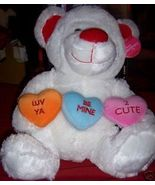Large Valentine Plush Bear NEW 3 Hearts White Red BEAR - $9.00