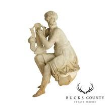 Antique 19th Century Marble Garden Statue, Goddess Playing Harp - £2,339.71 GBP