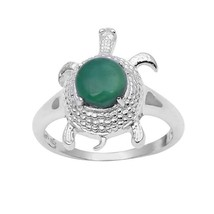 Turquoise Design 925 Sterling Silver Green Onyx Lucky Charm Ring RI0984 - $16.80