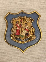 Vintage North Carolina State Seal Crest Shield Plaque Painted Cast Iron ... - $70.11