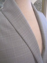 4yd OFF WHITE GREY PLAID WOOL BLEND SUIT WEIGHT CLASSIC MENSWEAR FABRIC - $50.00