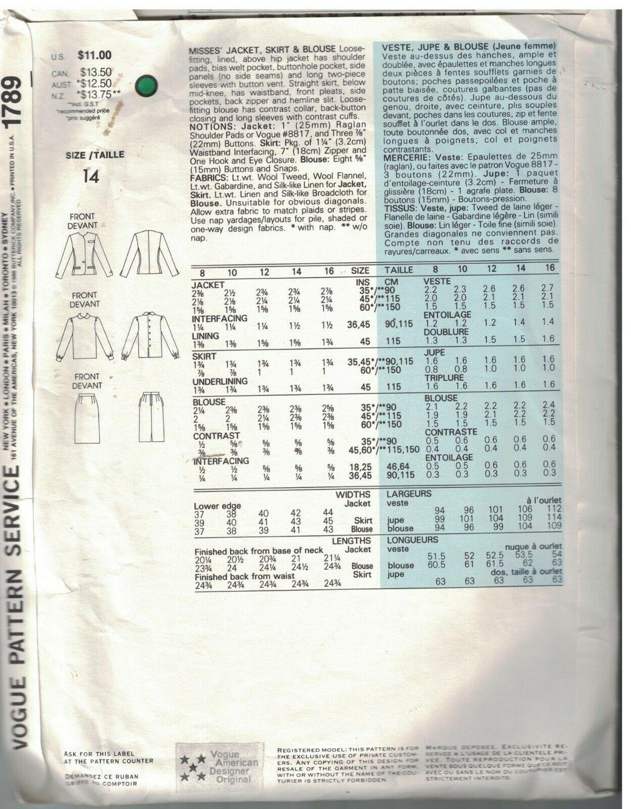 1789 Vogue Nähen Muster Misses Jacke Rock Bluse Bill Blass Amerikanisch Design image 2