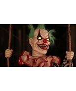 ANIMATED SWINGING CHUCKLES CLOWN Outdoor Halloween Decor Prop PORCH DECOR - $139.99