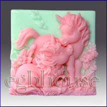 2D silicone Soap/polymer/clay mold –  Altair and Cintara- Unicorn Ponie - $34.77