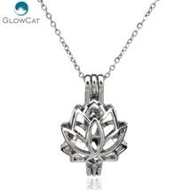 K52  Women Silver Lotus Flower Diffuser Locket Necklace Aromatherapy Ste... - $9.35