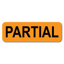 PARTIAL 1.5 x 0.5 Black on Fluorescent Orange Labels, Roll of 500 Labels - $32.55