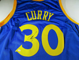 STEPHEN CURRY / AUTOGRAPHED GOLDEN STATE WARRIORS BLUE CUSTOM JERSEY / COA image 1