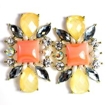 """Mode Cream & Pink Shourouk Style Look Lucite 1.75"""" Drop Dangle Post Earrings image 3"""